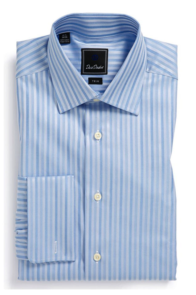 8e9ffd9a3 David Donahue Trim Fit Dress Shirt – Blue stripes – what my boyfriend wore